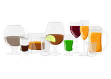 Alcohol drinks set different alcohol bottle and glasses Stock Image