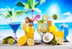 Alcohol drinks set with fruits Royalty Free Stock Image