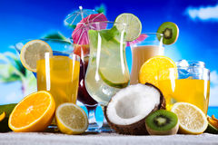 Alcohol drinks set with fruits Stock Photos