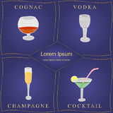 Alcohol Drinks. Set of Hand-Drawn Wineglasses in Golden Frames  on Blue. Glasses with Cognac, Vodka, Champagne and Cocktai Stock Image