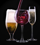 Alcohol drinks set isolated on a black Royalty Free Stock Images