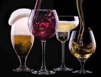 Alcohol drinks set isolated on a black Royalty Free Stock Photos