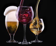 Alcohol drinks set isolated on a black stock photography
