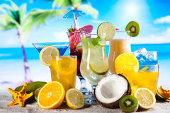 Alcohol Drinks Set With Fruits Royalty Free Stock Photo