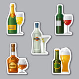 Alcohol drinks stickers. Set of different alcohol drinks stickers Royalty Free Stock Images