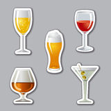 Alcohol drinks stickers Royalty Free Stock Photography