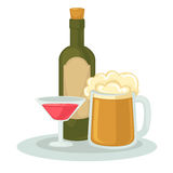 Alcohol drinks: wineglass, bottle of wine and glass of beer. Stock Image
