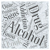 Alcohol and Drug Addiction word cloud concept vector background. Text Royalty Free Stock Photos