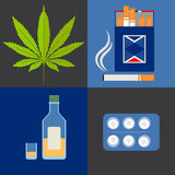 Alcohol, drugs and tobacco icons set Royalty Free Stock Images