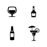alcohol Einfache in Verbindung stehende Vektor-Ikonen vektor abbildung