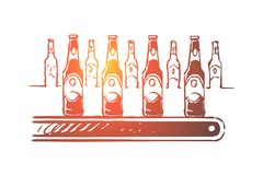 Alcohol factory, lager manufacturing process, bottling workshop, ale bottles with labels on conveyor line, finished product. Beer mass production plant concept stock illustration