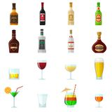 Alcohol Flat Icons Royalty Free Stock Images