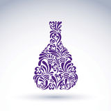 Alcohol flower-patterned bottle, classic pitcher with abstract n Stock Photo