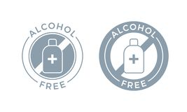 Alcohol free icon. Vector body and skin care cosmetic product, medical alcohol free symbol. Alcohol free icon for cosmetic product. Vector body and skin care royalty free illustration