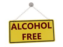 Alcohol free sign. With chain isolated on white background ,3d rendered stock illustration