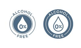 Alcohol free vector icon. Skin, body care cosmetic product medical alcohol free drop and percent symbol. Alcohol free vector icon. Skin and body care cosmetic royalty free illustration