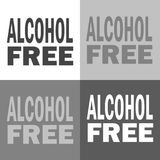 Alcohol free. Vector icon alcohol on white-grey-black color. Alcohol free illustration. Vector icon alcohol on white-grey-black color Stock Image