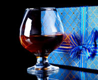 Alcohol and gift box. Royalty Free Stock Images