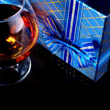 Alcohol and gift Stock Photo