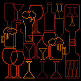 Alcohol glass and bottle background Stock Photo
