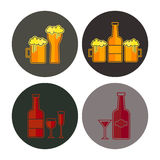 Alcohol glass and bottle icon Stock Photography