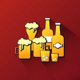 Alcohol glass and bottle icon Royalty Free Stock Photos