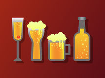 Alcohol glass and bottle icon. Vector Stock Images