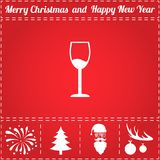 Alcohol glass Icon Vector. And bonus symbol for New Year - Santa Claus, Christmas Tree, Firework, Balls on deer antlers Vector Illustration