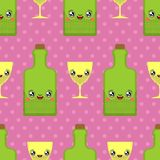 Alcohol and glass kawaii pattern seamless Cute cartoon. Funny Bottle background. Sweet Drink vector texture stock illustration