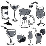 Alcohol glass set (hand drawing) Stock Photo