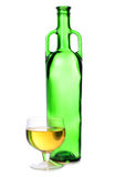 Alcohol glasses on bottle Royalty Free Stock Photos