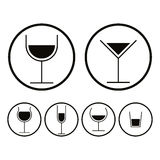 Alcohol glasses icons set. Stock Images