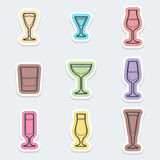 Alcohol glasses labels icons. Vector various color alcohol glasses labels icons with shadow Royalty Free Stock Photo