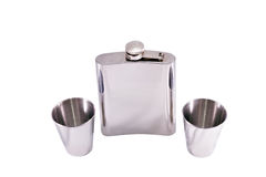 Alcohol Grooved Flask And Two Steel Drinks Royalty Free Stock Images