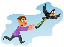 Alcohol is harmful to health. Drunk man trying to catch crow. With bottle of alcohol. Cartoon styled vector illustration. Elements is grouped and divided into Royalty Free Stock Images
