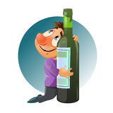 Alcohol is harmful to your health. Drunk man hugging a bottle. Alcohol is harmful to your health. Cartoon styled vector illustration. Elements is grouped and Royalty Free Stock Photo