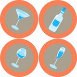 Alcohol icons 1. Alcohol design elements Stock Images