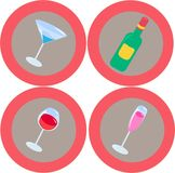 Alcohol icons 3. Alcohol design elements Stock Image