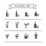 Alcohol icons. This is flat liner design icons of alcohol topic. It include wine bottle, flask, champagne, cocktail, aperitif, glasses, short, beer. Useful for Royalty Free Stock Images