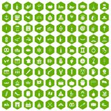 100 alcohol icons hexagon green. 100 alcohol icons set in green hexagon isolated vector illustration Royalty Free Stock Photography