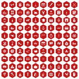 100 alcohol icons hexagon red. 100 alcohol icons set in red hexagon isolated vector illustration royalty free illustration