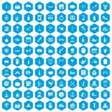 100 alcohol icons set blue. 100 alcohol icons set in blue hexagon isolated vector illustration royalty free illustration