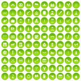 100 alcohol icons set green circle. Isolated on white background vector illustration royalty free illustration