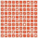 100 alcohol icons set grunge orange. 100 alcohol icons set in grunge style orange color isolated on white background vector illustration Stock Photo