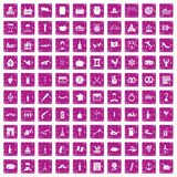 100 alcohol icons set grunge pink. 100 alcohol icons set in grunge style pink color isolated on white background vector illustration Royalty Free Stock Photo