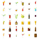 Alcohol icons set. Isolated objects on white background. Flat design vector illustration