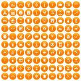 100 alcohol icons set orange. 100 alcohol icons set in orange circle isolated on white vector illustration Vector Illustration