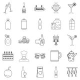 Alcohol icons set, outline style Royalty Free Stock Photos
