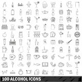 100 alcohol icons set, outline style Royalty Free Stock Photography