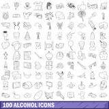 100 alcohol icons set, outline style Stock Photography